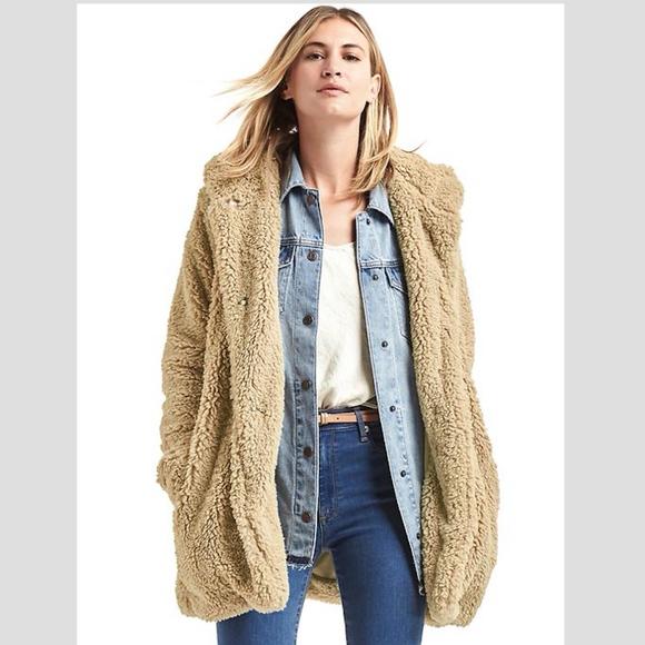 Gap Jackets Coats Cozy Sherpa Teddy Bear Hooded Coat Size Small